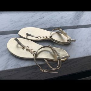Saint Laurent Nu Pieds Gold Sandals